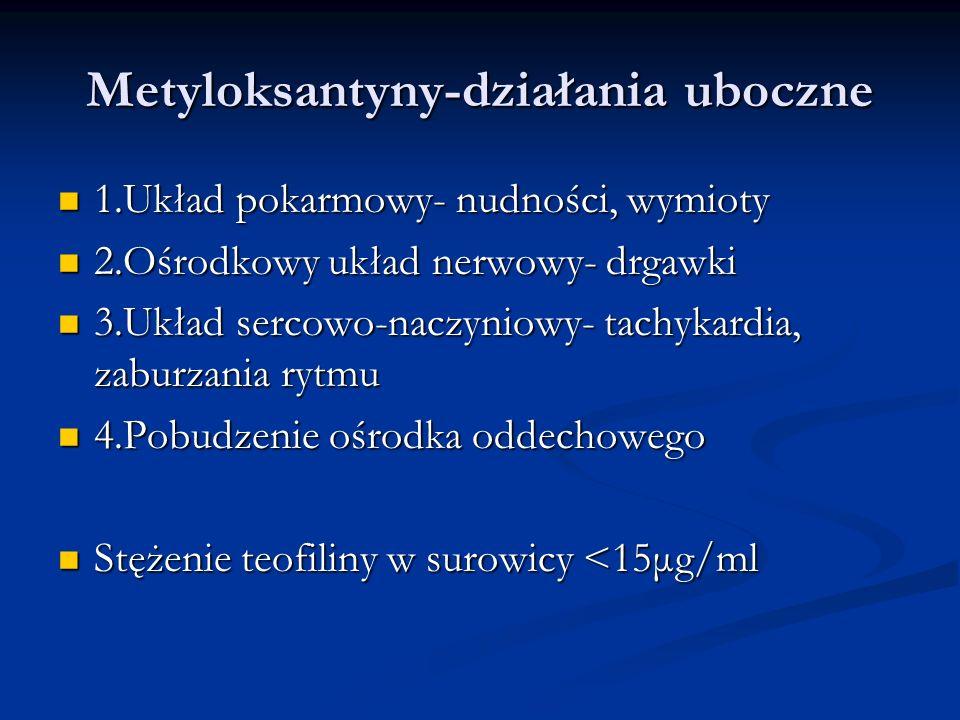 Metyloksantyny-działania uboczne 1.Układ pokarmowy- nudności, wymioty 1.Układ pokarmowy- nudności, wymioty 2.Ośrodkowy układ nerwowy- drgawki 2.Ośrodkowy układ nerwowy- drgawki 3.Układ sercowo-naczyniowy- tachykardia, zaburzania rytmu 3.Układ sercowo-naczyniowy- tachykardia, zaburzania rytmu 4.Pobudzenie ośrodka oddechowego 4.Pobudzenie ośrodka oddechowego Stężenie teofiliny w surowicy <15μg/ml Stężenie teofiliny w surowicy <15μg/ml