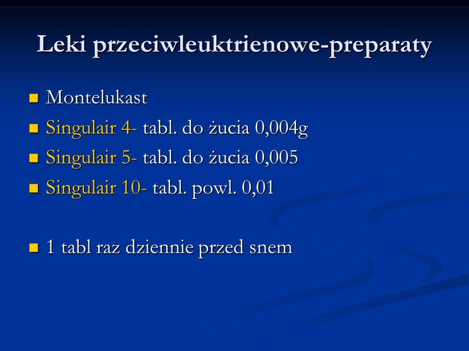 Leki przeciwleuktrienowe-preparaty Montelukast Montelukast Singulair 4- tabl.