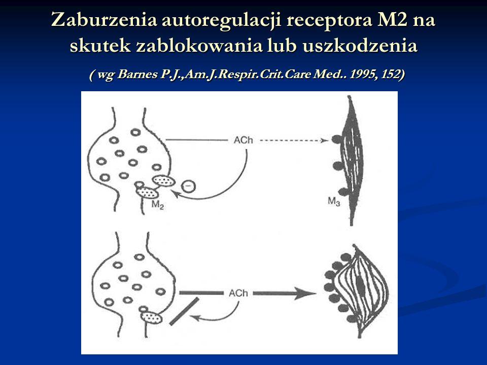 Zaburzenia autoregulacji receptora M2 na skutek zablokowania lub uszkodzenia ( wg Barnes P.J.,Am.J.Respir.Crit.Care Med..