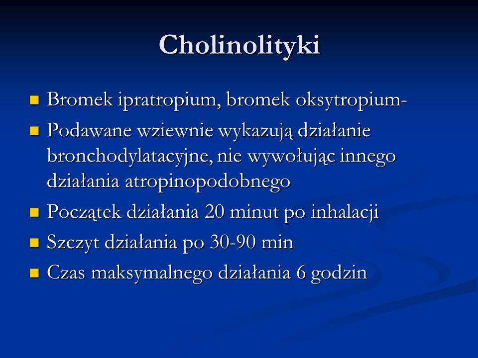 Cholinolityki Bromek ipratropium, bromek oksytropium- Bromek ipratropium, bromek oksytropium- Podawane wziewnie wykazują działanie bronchodylatacyjne, nie wywołując innego działania atropinopodobnego Podawane wziewnie wykazują działanie bronchodylatacyjne, nie wywołując innego działania atropinopodobnego Początek działania 20 minut po inhalacji Początek działania 20 minut po inhalacji Szczyt działania po 30-90 min Szczyt działania po 30-90 min Czas maksymalnego działania 6 godzin Czas maksymalnego działania 6 godzin