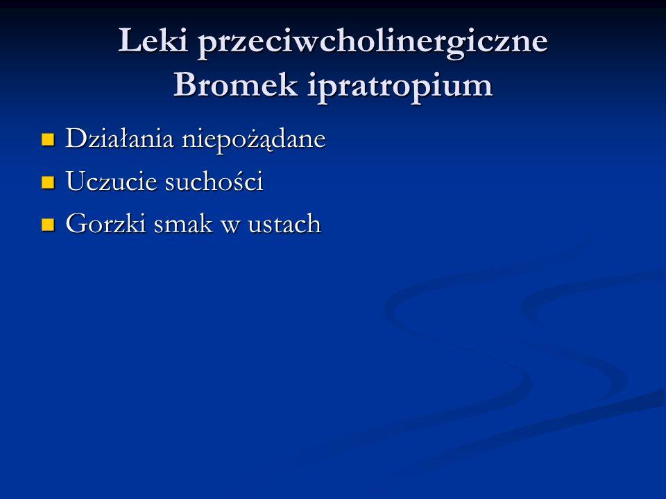 Leki przeciwcholinergiczne Bromek ipratropium Działania niepożądane Działania niepożądane Uczucie suchości Uczucie suchości Gorzki smak w ustach Gorzki smak w ustach