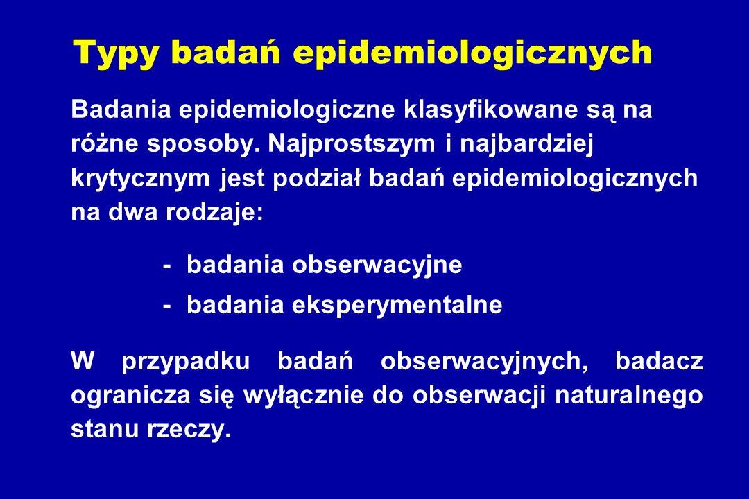 Typy badań epidemiologicznych Badania epidemiologiczne klasyfikowane są na różne sposoby.