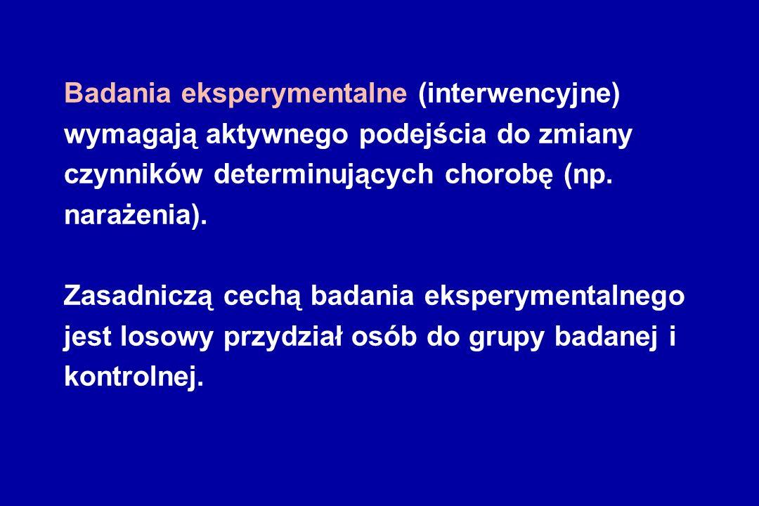 Badania eksperymentalne (interwencyjne) wymagają aktywnego podejścia do zmiany czynników determinujących chorobę (np.