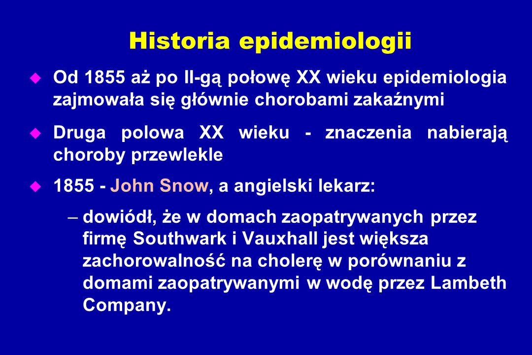 Historia epidemiologii u Od 1855 aż po II-gą połowę XX wieku epidemiologia zajmowała się głównie chorobami zakaźnymi u Druga polowa XX wieku - znaczenia nabierają choroby przewlekle u 1855 - John Snow, a angielski lekarz: –dowiódł, że w domach zaopatrywanych przez firmę Southwark i Vauxhall jest większa zachorowalność na cholerę w porównaniu z domami zaopatrywanymi w wodę przez Lambeth Company.