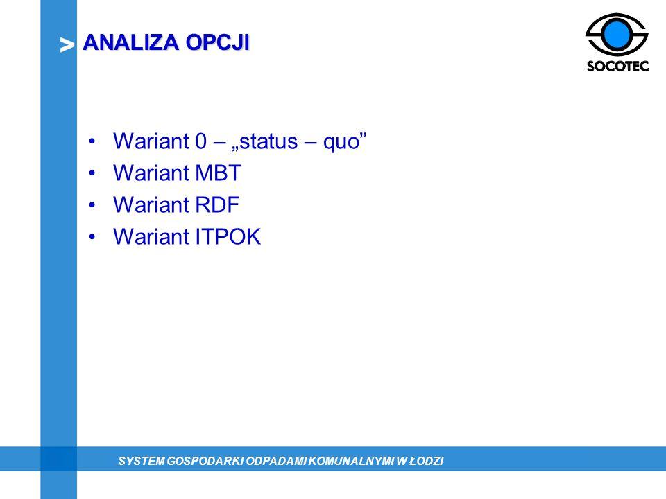 Wariant 0 – status – quo Wariant MBT Wariant RDF Wariant ITPOK ANALIZA OPCJI SYSTEM GOSPODARKI ODPADAMI KOMUNALNYMI W ŁODZI