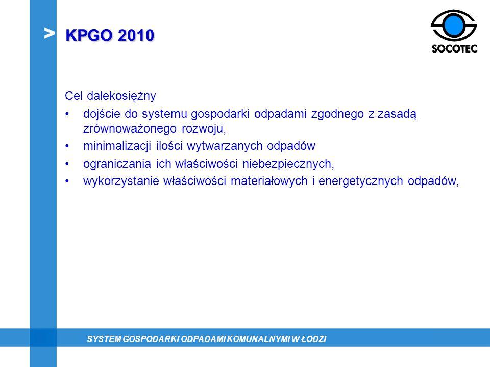KPGO 2010 Cel dalekosiężny dojście do systemu gospodarki odpadami zgodnego z zasadą zrównoważonego rozwoju, minimalizacji ilości wytwarzanych odpadów