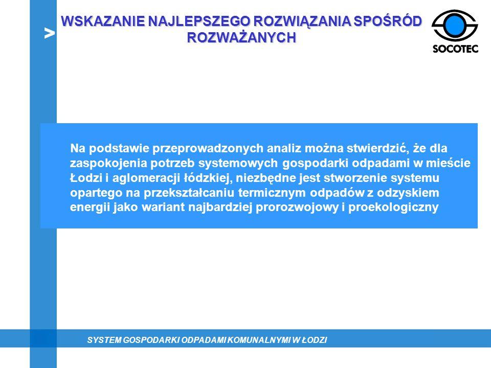 Na podstawie przeprowadzonych analiz można stwierdzić, że dla zaspokojenia potrzeb systemowych gospodarki odpadami w mieście Łodzi i aglomeracji łódzk
