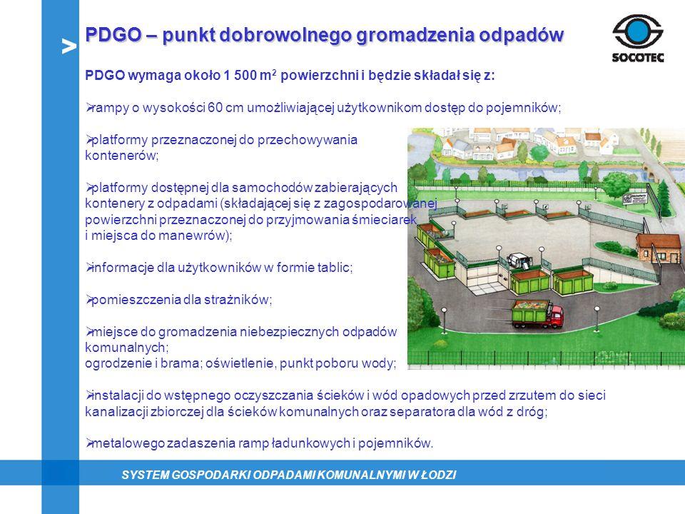 PDGO – punkt dobrowolnego gromadzenia odpadów PDGO wymaga około 1 500 m 2 powierzchni i będzie składał się z: rampy o wysokości 60 cm umożliwiającej u