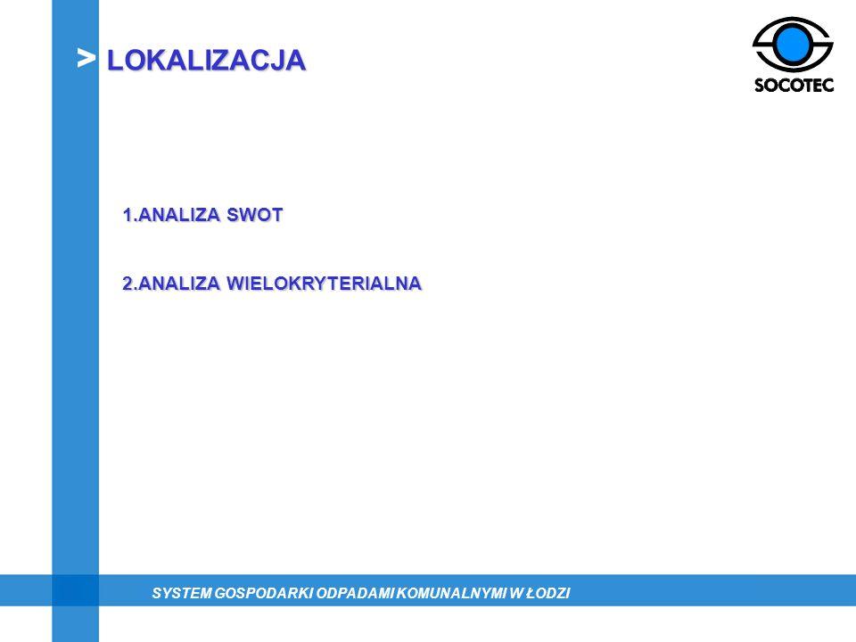 LOKALIZACJA 1.ANALIZA SWOT 2.ANALIZA WIELOKRYTERIALNA SYSTEM GOSPODARKI ODPADAMI KOMUNALNYMI W ŁODZI