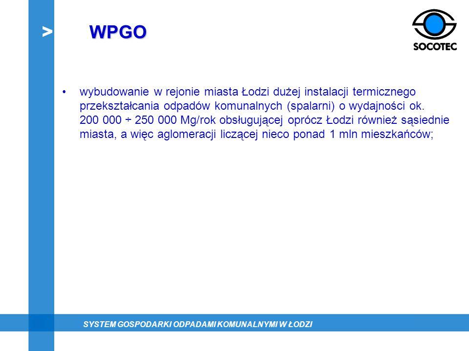 WPGO wybudowanie w rejonie miasta Łodzi dużej instalacji termicznego przekształcania odpadów komunalnych (spalarni) o wydajności ok. 200 000 ÷ 250 000