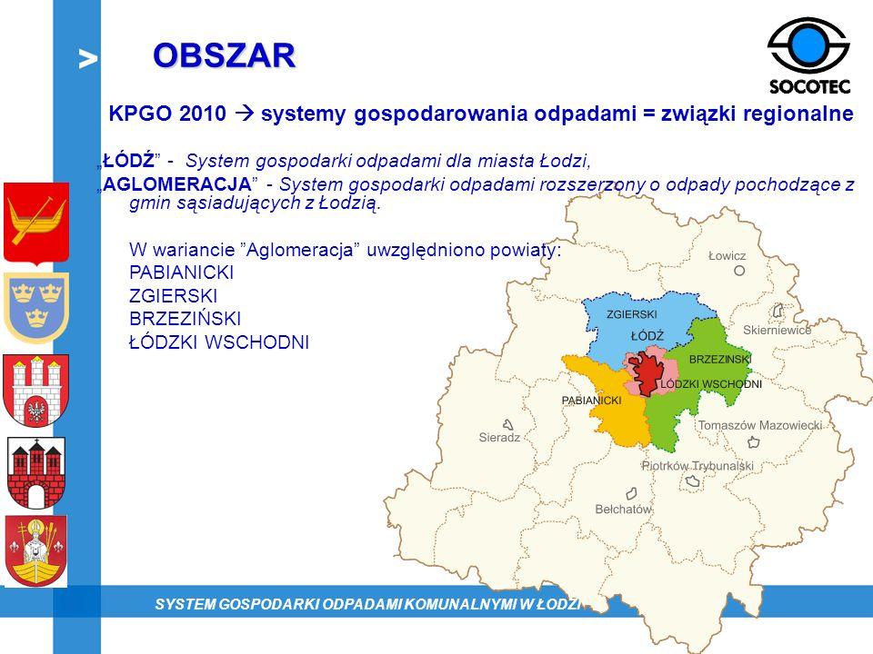 OBSZAR KPGO 2010 systemy gospodarowania odpadami = związki regionalne ŁÓDŹ - System gospodarki odpadami dla miasta Łodzi, AGLOMERACJA - System gospoda