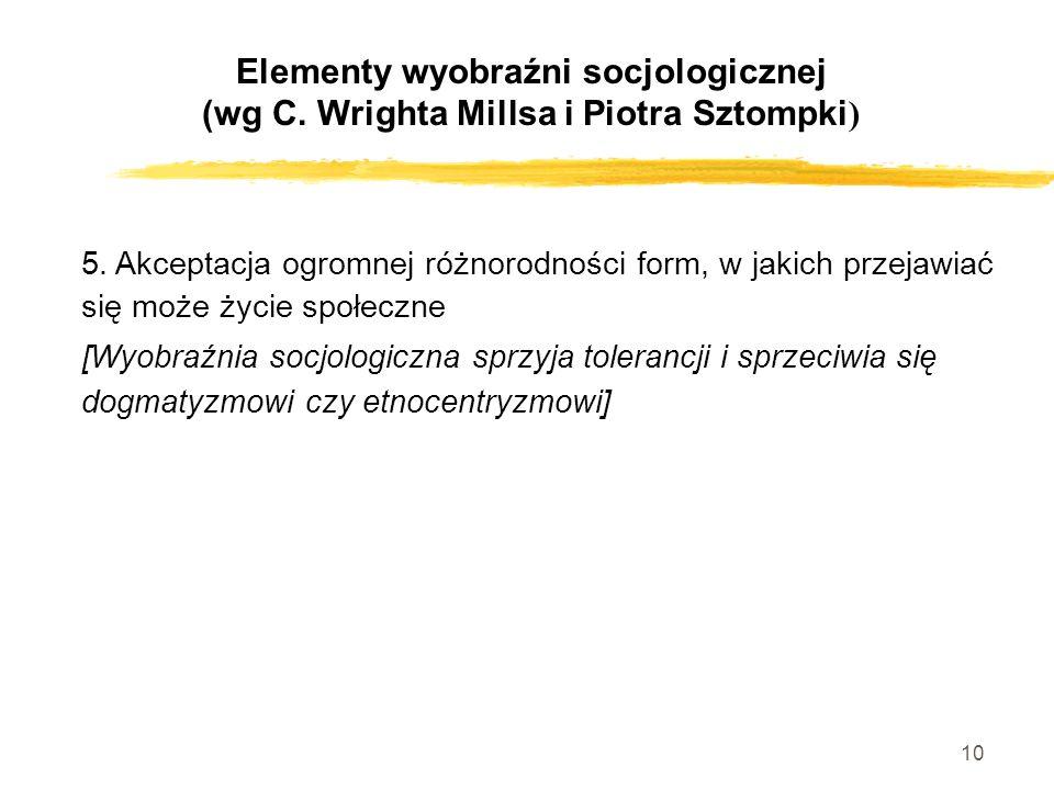 10 5. Akceptacja ogromnej różnorodności form, w jakich przejawiać się może życie społeczne [Wyobraźnia socjologiczna sprzyja tolerancji i sprzeciwia s