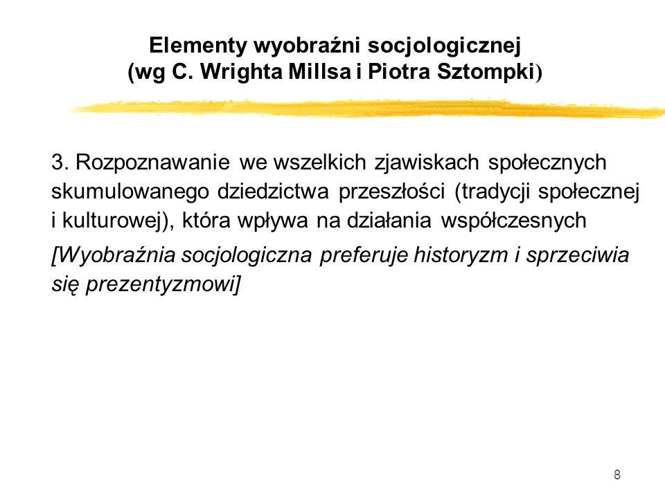 8 3. Rozpoznawanie we wszelkich zjawiskach społecznych skumulowanego dziedzictwa przeszłości (tradycji społecznej i kulturowej), która wpływa na dział