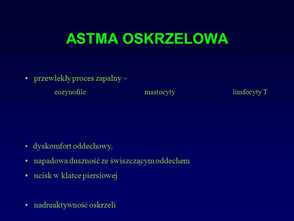 Diagnostyka astmy- badanie przedmiotowe NAPAD ASTMY OSKRZELOWEJ oglądanie: silna duszność, pogłębienie oddechów, kaszel, pozycja siedząca z podpartymi rękami, uruchomienie dodatkowych mięśni oddechowych, zasinienie osłuchiwanie: świsty, furczenia, wydłużona faza wydechowa opukiwanie: odgłos opukowy nadmiernie jawny + tachykardia, zaburzenia świadomości OKRES MIĘDZY NAPADAMI kaszel, i/lub pojedyncze świsty nad polami płucnymi szczególnie przy forsownym wydechu świszczący oddech i/lub wydłużona faza wydechowa lub stan bezobjawowy