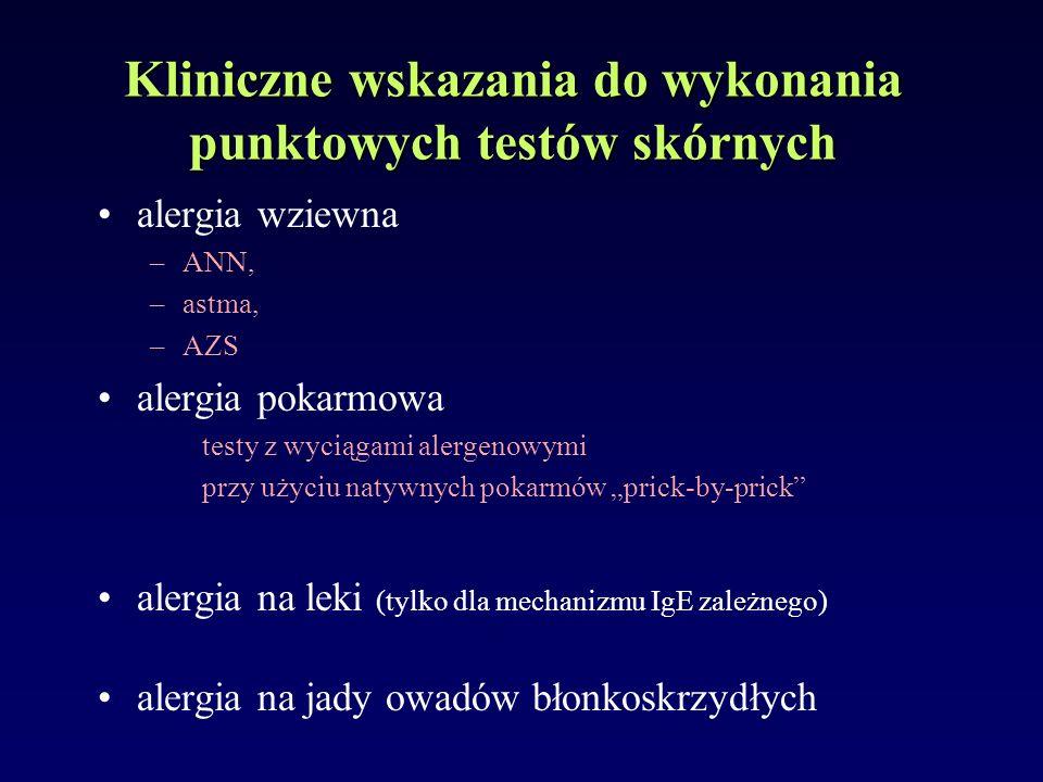 alergia wziewna –ANN, –astma, –AZS alergia pokarmowa testy z wyciągami alergenowymi przy użyciu natywnych pokarmów prick-by-prick alergia na leki (tyl