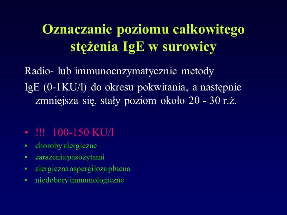 Oznaczanie poziomu całkowitego stężenia IgE w surowicy Radio- lub immunoenzymatycznie metody IgE (0-1KU/l) do okresu pokwitania, a następnie zmniejsza