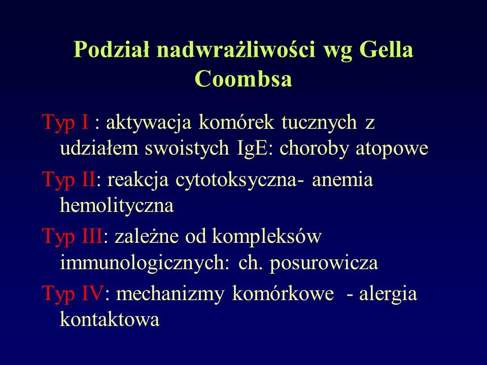 Typ I : aktywacja komórek tucznych z udziałem swoistych IgE: choroby atopowe Typ II: reakcja cytotoksyczna- anemia hemolityczna Typ III: zależne od ko