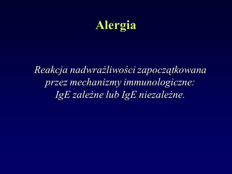 Reakcja nadwrażliwości zapoczątkowana przez mechanizmy immunologiczne: IgE zależne lub IgE niezależne. Alergia