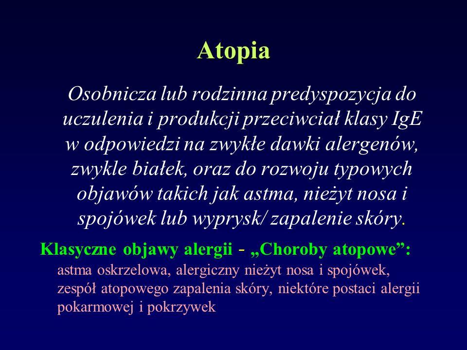 Atopia Osobnicza lub rodzinna predyspozycja do uczulenia i produkcji przeciwciał klasy IgE w odpowiedzi na zwykłe dawki alergenów, zwykle białek, oraz