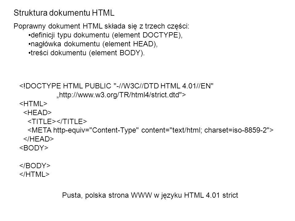 Struktura dokumentu HTML <!DOCTYPE HTML PUBLIC