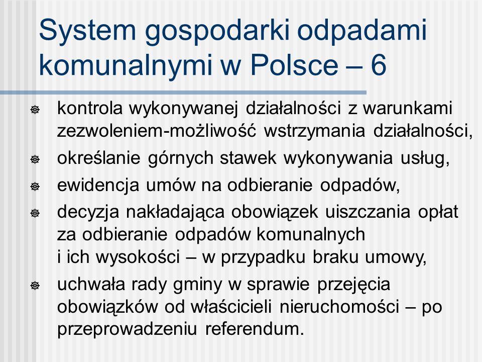 System gospodarki odpadami komunalnymi w Polsce – 6 kontrola wykonywanej działalności z warunkami zezwoleniem-możliwość wstrzymania działalności, okre