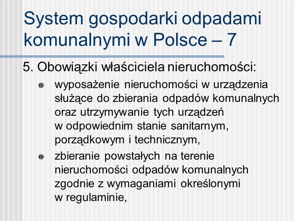 System gospodarki odpadami komunalnymi w Polsce – 7 5. Obowiązki właściciela nieruchomości: wyposażenie nieruchomości w urządzenia służące do zbierani