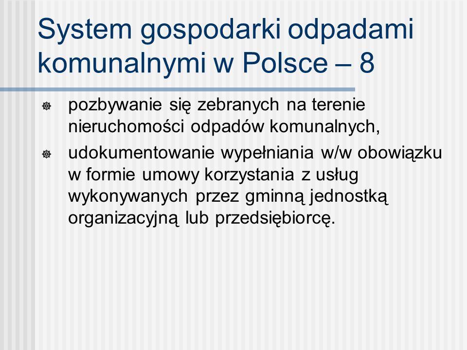 System gospodarki odpadami komunalnymi w Polsce – 8 pozbywanie się zebranych na terenie nieruchomości odpadów komunalnych, udokumentowanie wypełniania