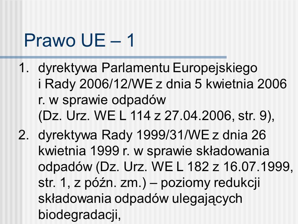 Prawo UE – 1 1. dyrektywa Parlamentu Europejskiego i Rady 2006/12/WE z dnia 5 kwietnia 2006 r. w sprawie odpadów (Dz. Urz. WE L 114 z 27.04.2006, str.