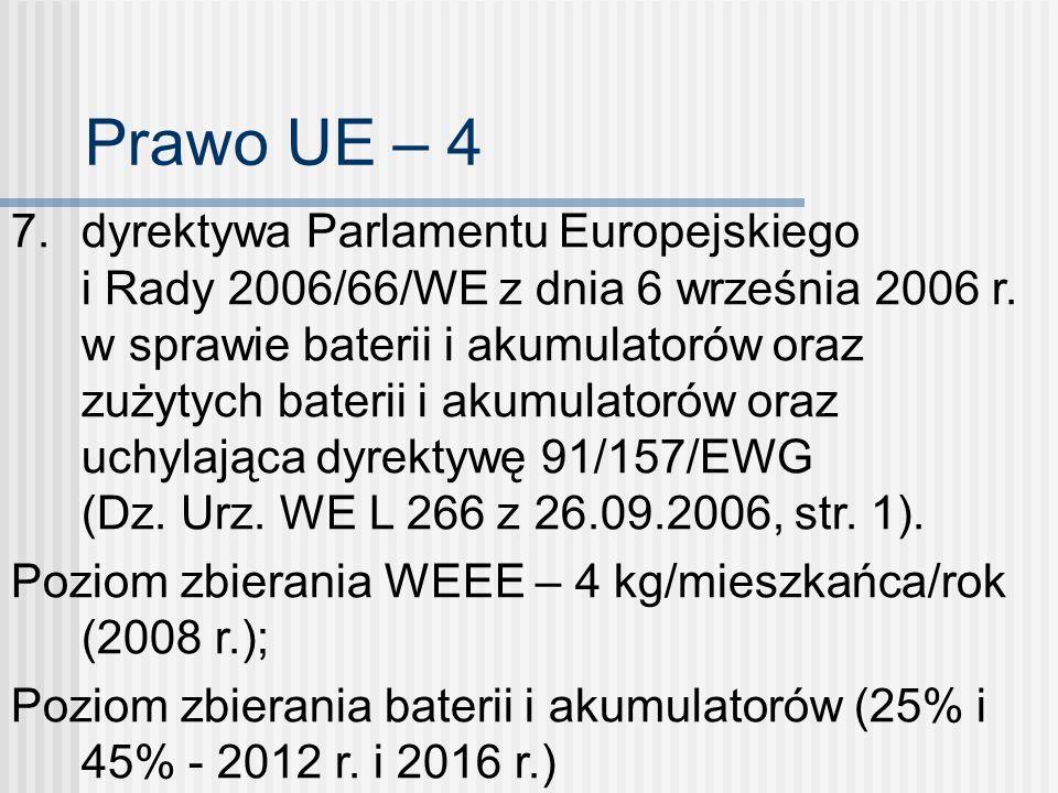Prawo UE – 4 7. dyrektywa Parlamentu Europejskiego i Rady 2006/66/WE z dnia 6 września 2006 r. w sprawie baterii i akumulatorów oraz zużytych baterii