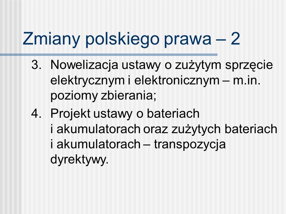 Zmiany polskiego prawa – 2 3. Nowelizacja ustawy o zużytym sprzęcie elektrycznym i elektronicznym – m.in. poziomy zbierania; 4. Projekt ustawy o bater