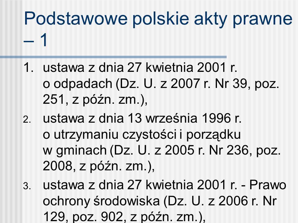 Podstawowe polskie akty prawne – 1 1. ustawa z dnia 27 kwietnia 2001 r. o odpadach (Dz. U. z 2007 r. Nr 39, poz. 251, z późn. zm.), 2. ustawa z dnia 1