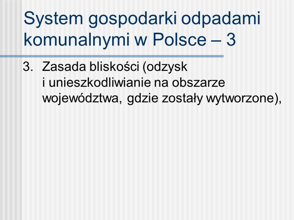 System gospodarki odpadami komunalnymi w Polsce – 3 3. Zasada bliskości (odzysk i unieszkodliwianie na obszarze województwa, gdzie zostały wytworzone)