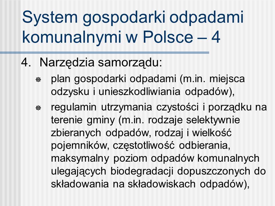 System gospodarki odpadami komunalnymi w Polsce – 4 4. Narzędzia samorządu: plan gospodarki odpadami (m.in. miejsca odzysku i unieszkodliwiania odpadó