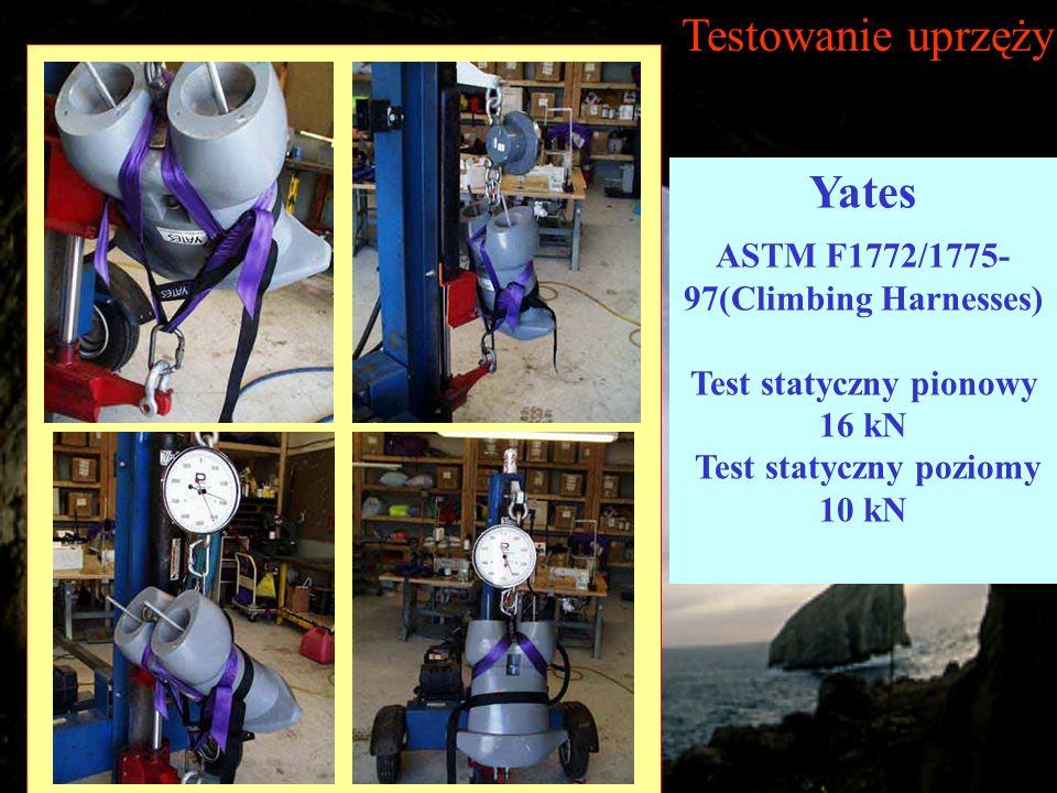 Testowanie uprzęży Yates ASTM F1772/1775- 97(Climbing Harnesses) Test statyczny pionowy 16 kN Test statyczny poziomy 10 kN