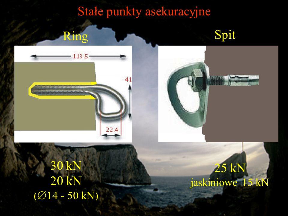Stałe punkty asekuracyjne Ring 30 kN 20 kN ( 14 - 50 kN) Spit 25 kN jaskiniowe 15 kN