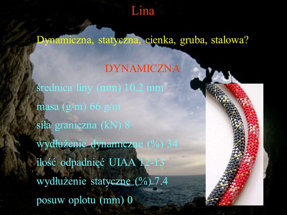 Lina Dynamiczna, statyczna, cienka, gruba, stalowa? DYNAMICZNA średnica liny (mm) 10.2 mm masa (g/m) 66 g/m siła graniczna (kN) 8 wydłużenie dynamiczn