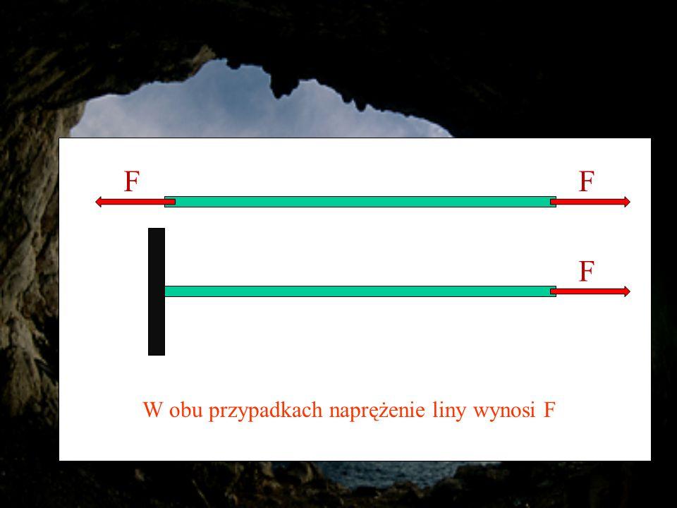 FF F W obu przypadkach naprężenie liny wynosi F