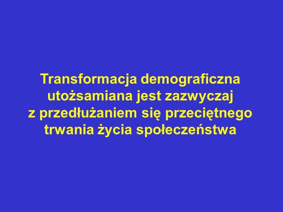 Transformacja demograficzna utożsamiana jest zazwyczaj z przedłużaniem się przeciętnego trwania życia społeczeństwa