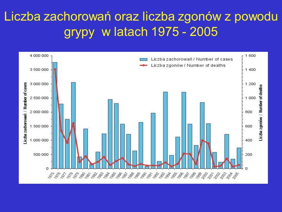 Liczba zachorowań oraz liczba zgonów z powodu grypy w latach 1975 - 2005