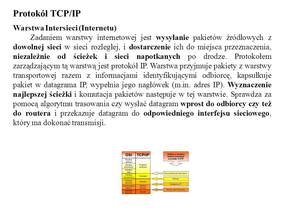 Protokół TCP/IP Warstwa Intersieci (Internetu) Zadaniem warstwy internetowej jest wysyłanie pakietów źródłowych z dowolnej sieci w sieci rozległej, i
