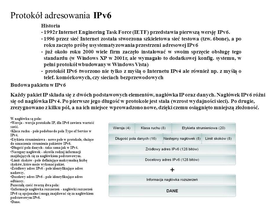 Protokół adresowania IPv6 Historia -1992r Internet Enginering Task Force (IETF) przedstawia pierwszą wersję IPv6. -1996 przez sieć Internet została st