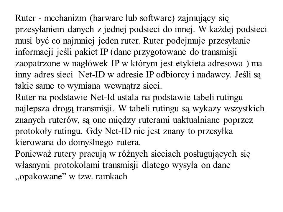 Ruter - mechanizm (harware lub software) zajmujący się przesyłaniem danych z jednej podsieci do innej. W każdej podsieci musi być co najmniej jeden ru