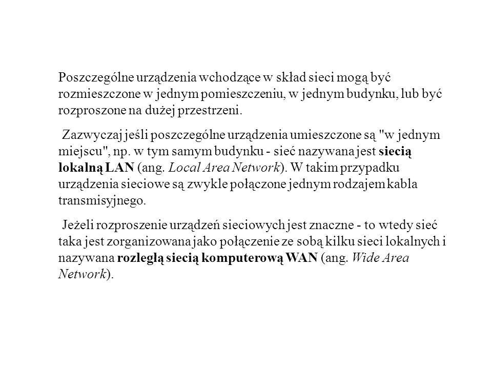 ADRES SIECI Aby określić adres nazywany numerem sieci, komputer wykonuję mnożenie binarne czyli funkcję AND pomiędzy adresem komputera (hosta, dla którego określamy sieć), a jego maską sieci.