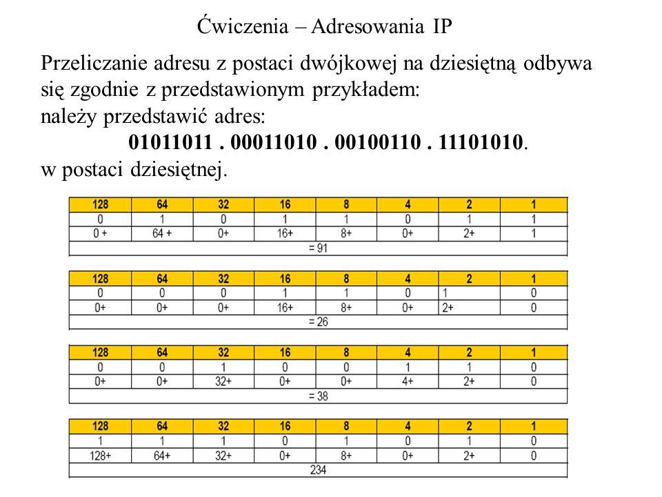 Ćwiczenia – Adresowania IP Przeliczanie adresu z postaci dwójkowej na dziesiętną odbywa się zgodnie z przedstawionym przykładem: należy przedstawić ad