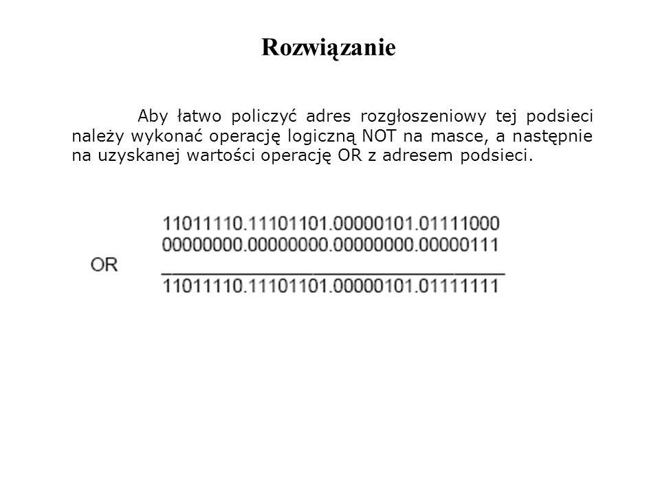 Rozwiązanie Aby łatwo policzyć adres rozgłoszeniowy tej podsieci należy wykonać operację logiczną NOT na masce, a następnie na uzyskanej wartości oper