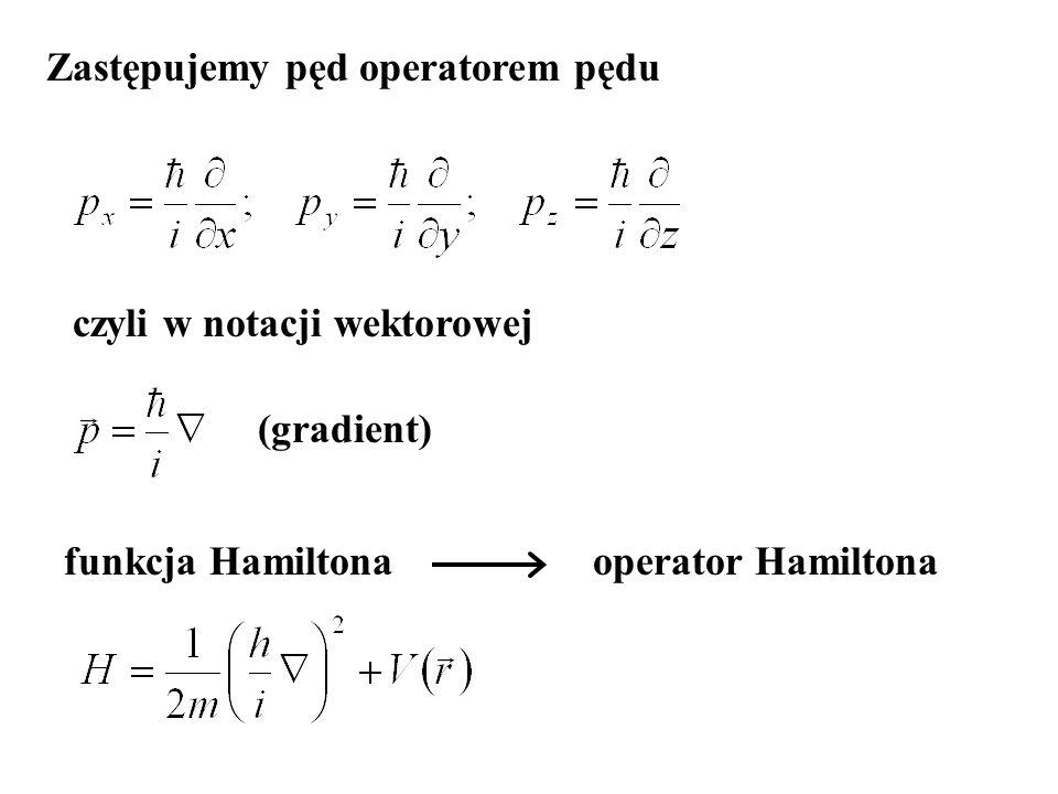 (gradient) Zastępujemy pęd operatorem pędu funkcja Hamiltonaoperator Hamiltona czyli w notacji wektorowej