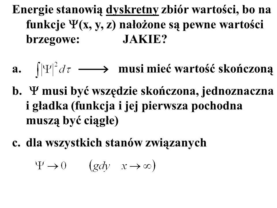 Energie stanowią dyskretny zbiór wartości, bo na funkcje (x, y, z) nałożone są pewne wartości brzegowe:JAKIE? a. musi mieć wartość skończoną b. musi b