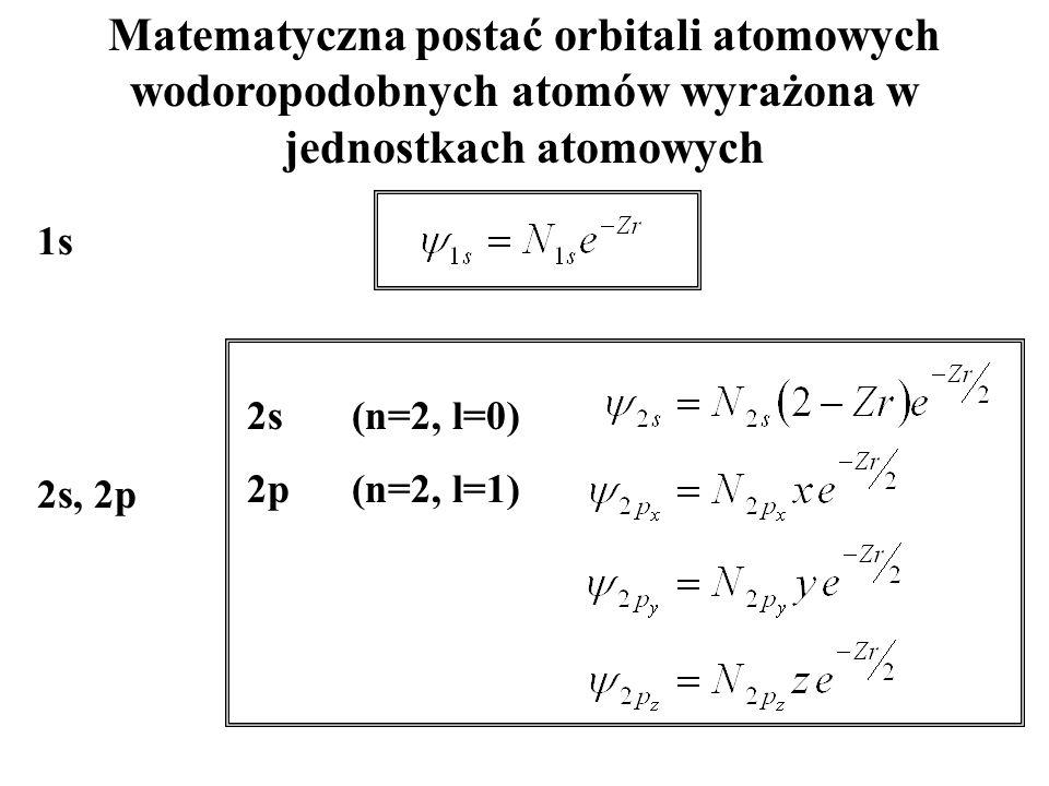 Matematyczna postać orbitali atomowych wodoropodobnych atomów wyrażona w jednostkach atomowych 2s(n=2, l=0) 2p(n=2, l=1) 1s 2s, 2p