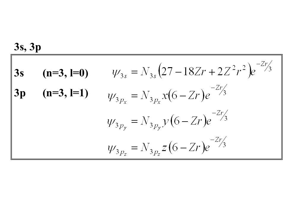 3s(n=3, l=0) 3p(n=3, l=1) 3s, 3p