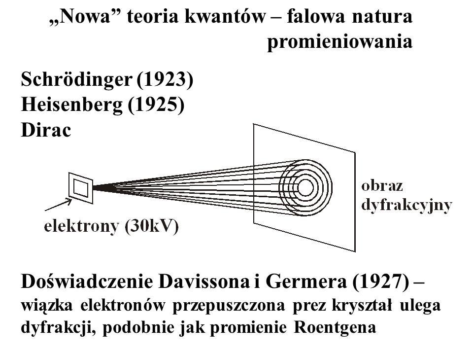 Schrödinger (1923) Heisenberg (1925) Dirac Doświadczenie Davissona i Germera (1927) – wiązka elektronów przepuszczona prez kryształ ulega dyfrakcji, p